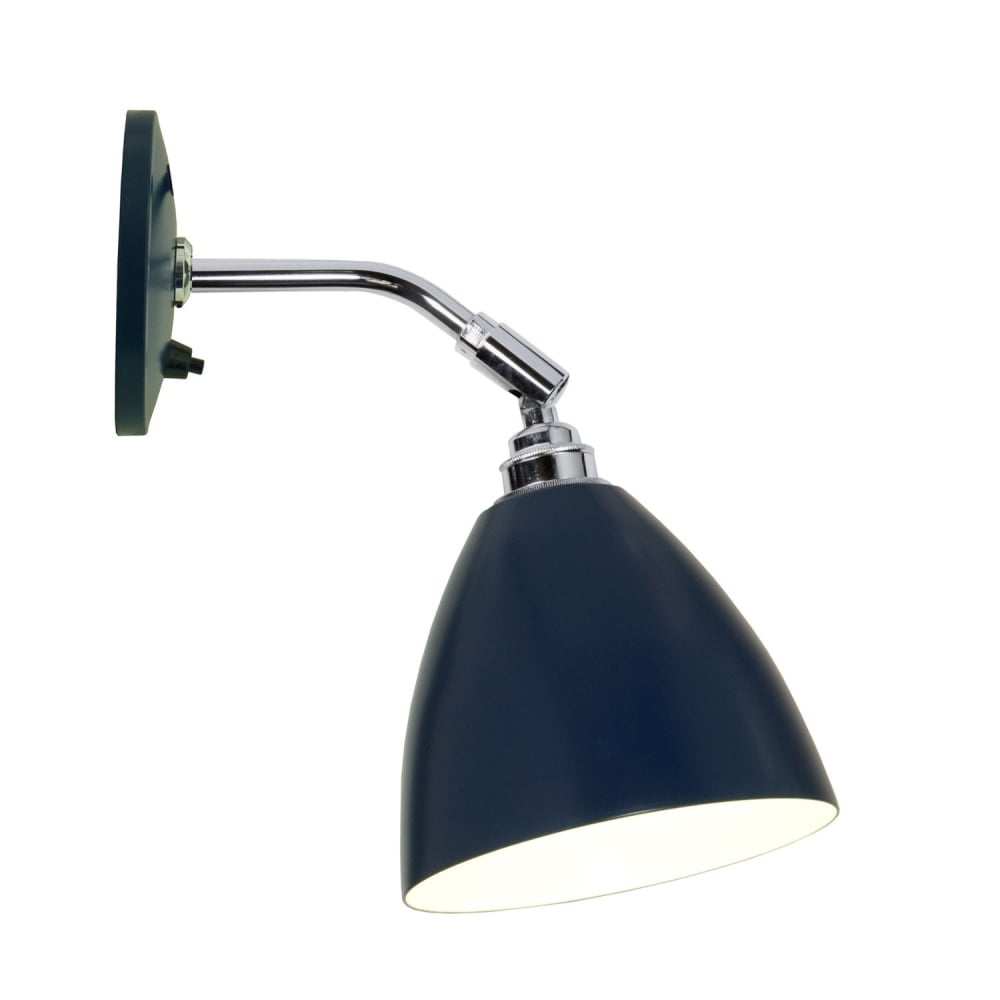 Modern classic single wall light with blue shade switched modern classic wall light with blue shade aloadofball Choice Image