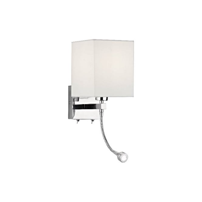 Modern over bed reading light chrome with flexible led reading arm tatton wall light with flexible led reading arm mozeypictures Gallery