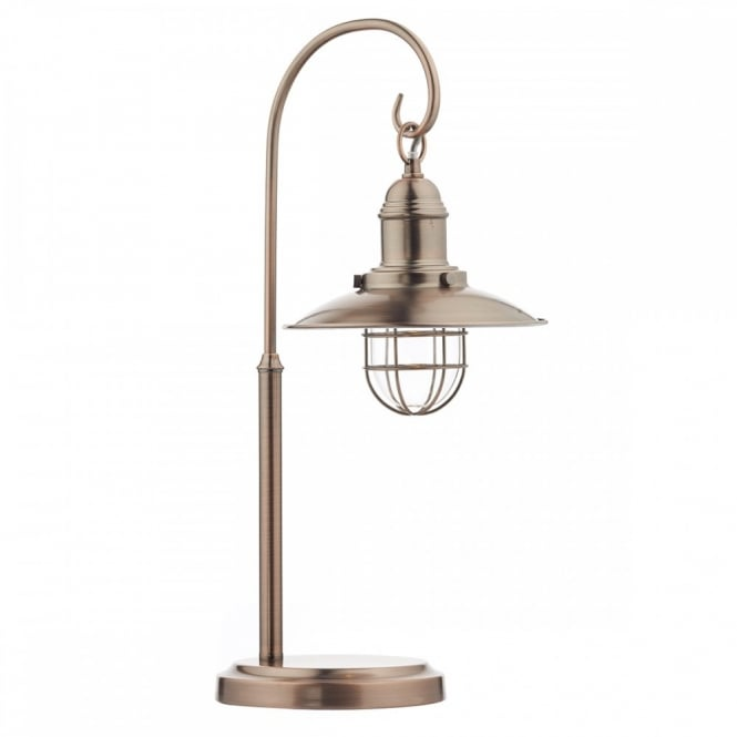 Retro Hanging Lantern Table Lamp In A Copper Finish Switched