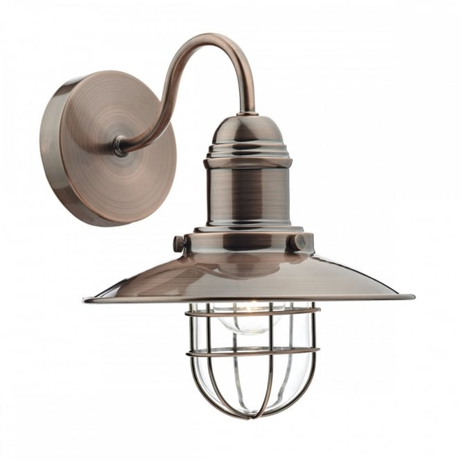 TERRACE vintage coastal fisherman style wall light in a copper finish