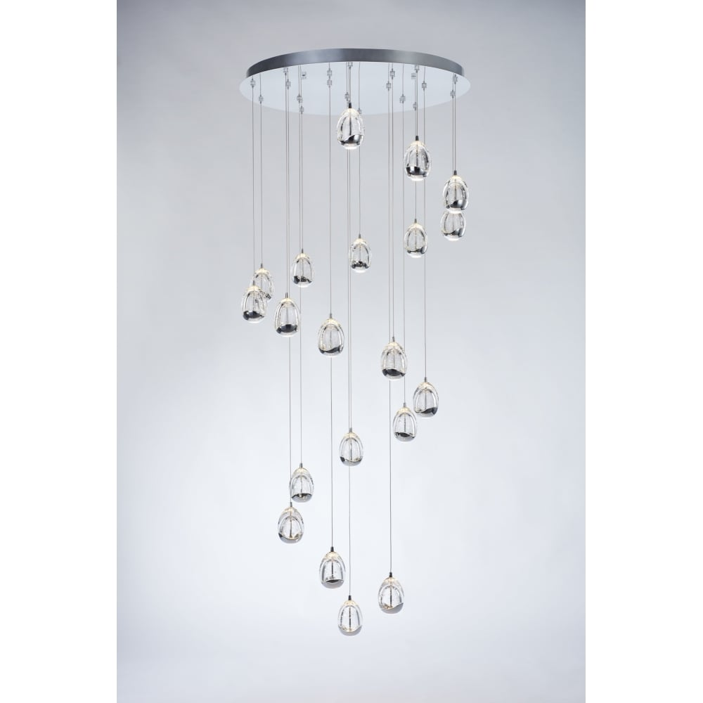 Chrome and bubble glass 20 light led pendant light lighting company 20 light chrome and bubble glass led spiral ceiling pendant aloadofball Choice Image