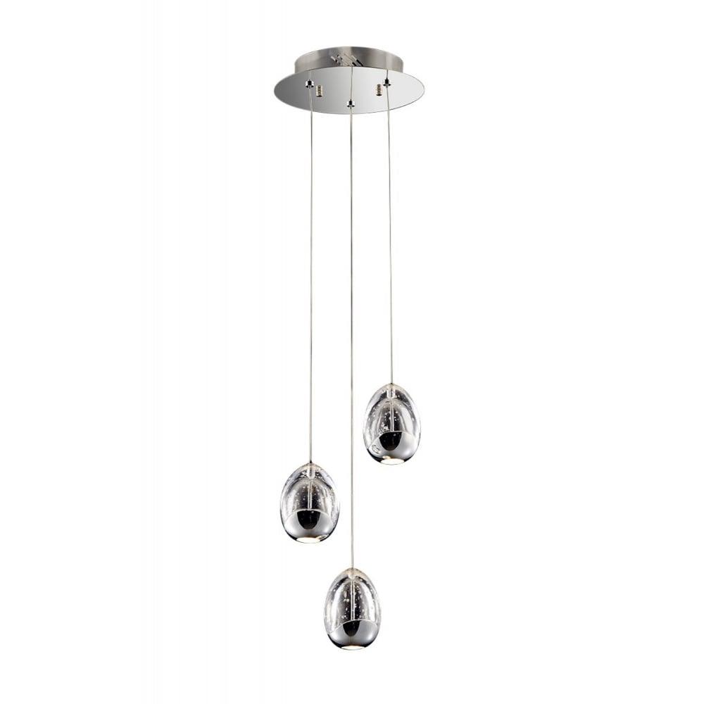 Chrome and bubble glass 3 light pendant cluster lighting company chrome and bubble glass 3 light ceiling pendant cluster aloadofball Gallery