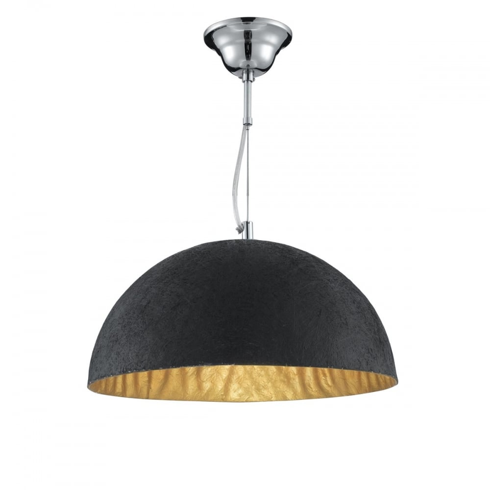 Textured black dome ceiling pendant with gold inner textured black dome ceiling pendant with gold inner aloadofball Choice Image