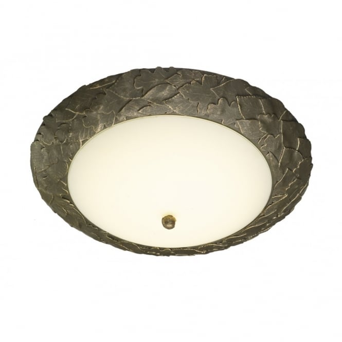 The David Hunt Lighting Collection ACORN gold & cocoa leaf design LED flush ceiling light