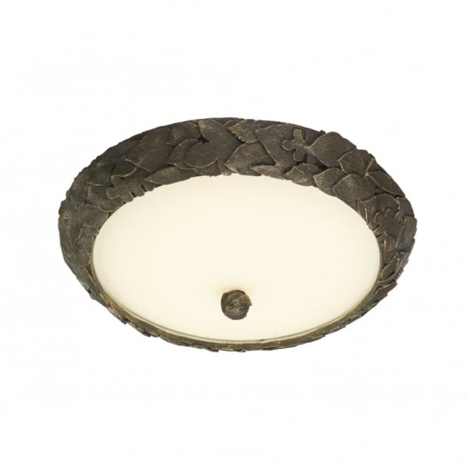 The David Hunt Lighting Collection ACORN gold & cocoa leaf design LED flush ceiling light (small)