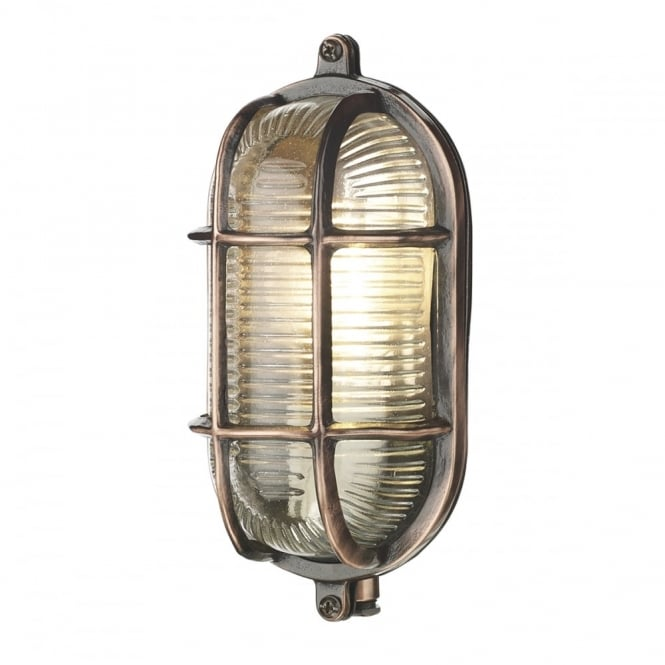 The David Hunt Lighting Collection ADMIRAL small oval exterior bulkhead in antique copper