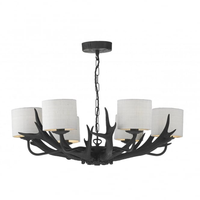 The David Hunt Lighting Collection ANTLER black ceiling pendant 6lt (ivory shades)