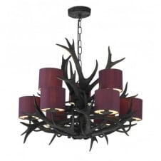 ANTLER black ceiling pendant 9lt tiered (blackcurrant shades)