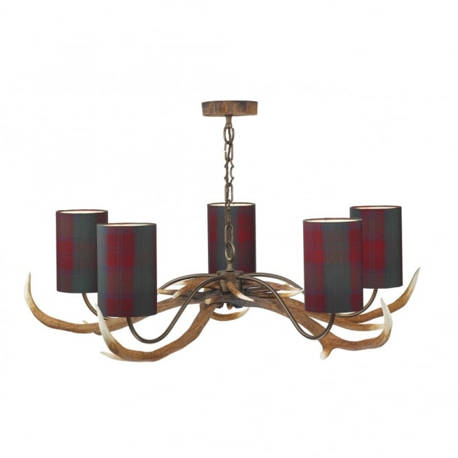 The David Hunt Lighting Collection ANTLER ceiling pendant 5lt (tartan shades)