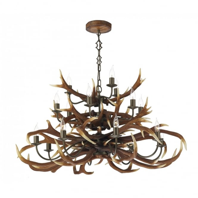 The David Hunt Lighting Collection ANTLER ceiling pendant tiered 17lt