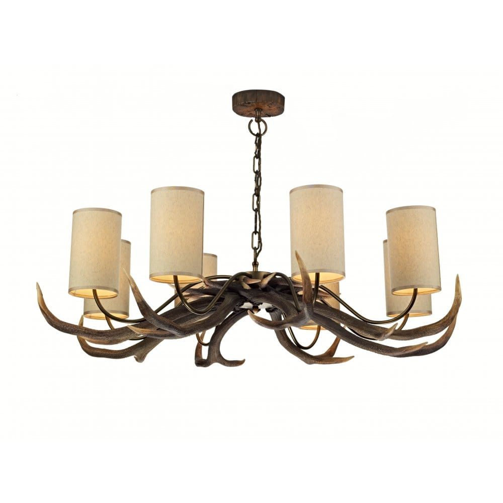 Rustic Lighting Company: Large Antler Stag Ceiling Pendant With 8 Lights