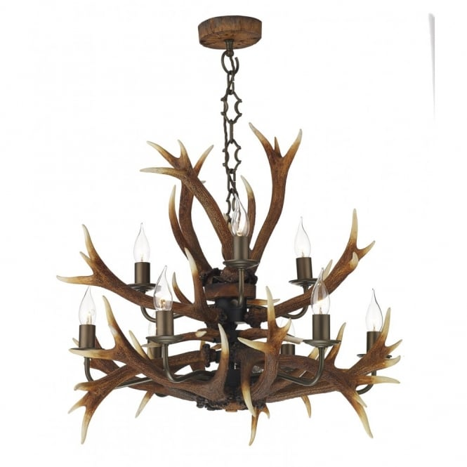 The David Hunt Lighting Collection ANTLER tiered ceiling pendant 9lt