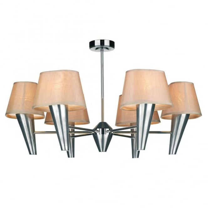 The David Hunt Lighting Collection ASPEN 6lt chrome ceiling light with shades