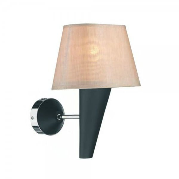 Contemporary Wall Light in Black Finish with Silk Shade, Made in UK