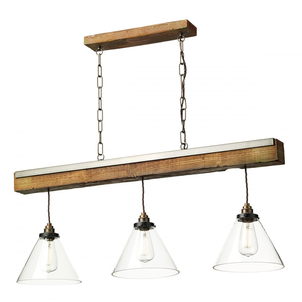 Aspen rustic wooden 3 light ceiling pendant bar with glass for Ceiling lamp wood
