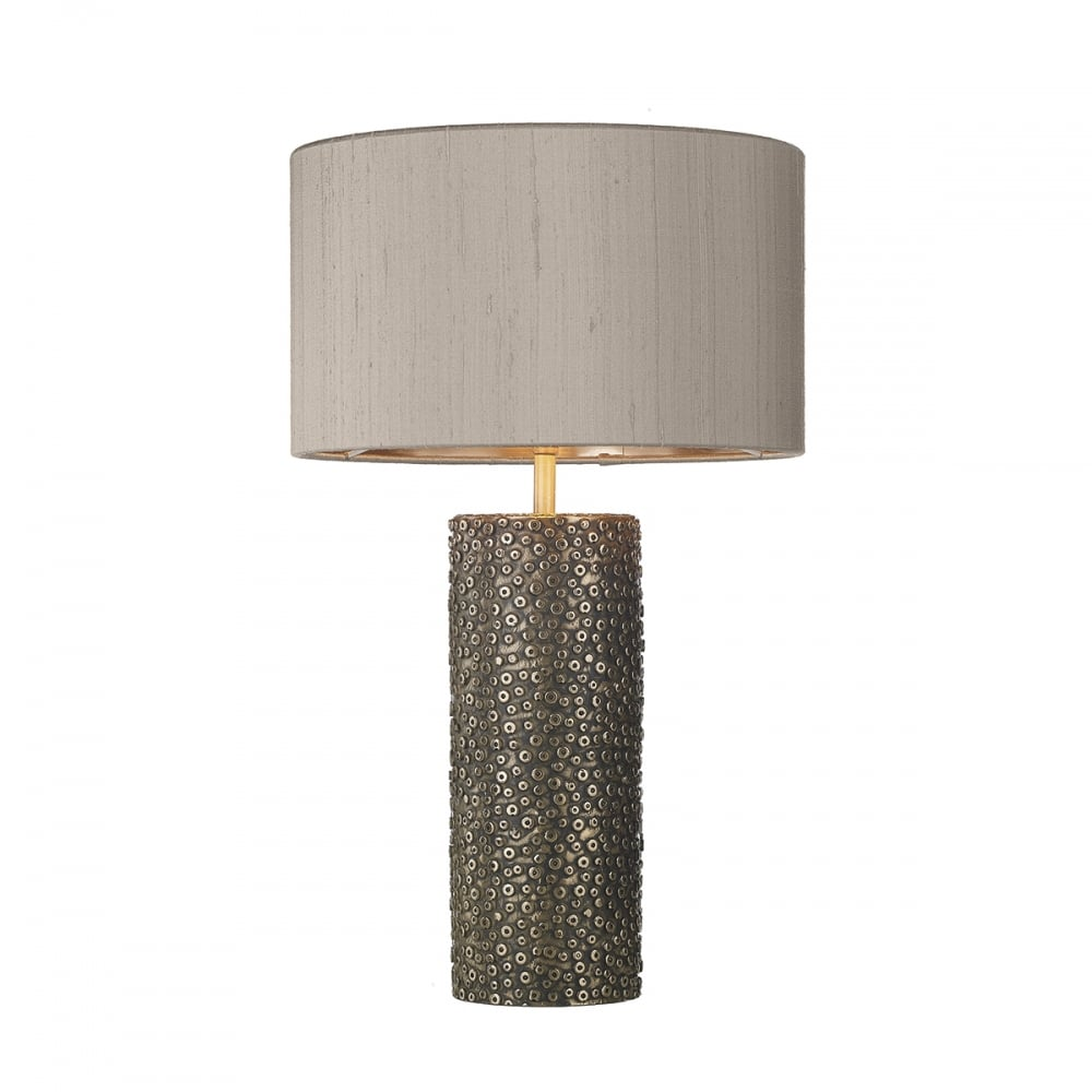 Bronze Stamp Textured Table Lamp with Truffle Coloured ...