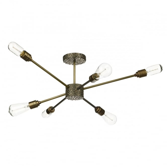 The David Hunt Lighting Collection AVIATOR vintage steampunk 6 light semi flush ceiling light in bronze