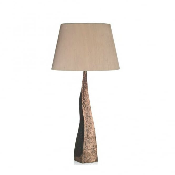 Designer british made table lamp hammered copper base with silk shade aztec hammered copper table lamp with silk shade mozeypictures Images