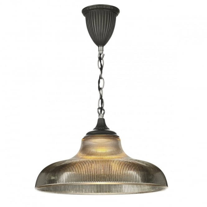 The David Hunt Lighting Collection BADGER rustic pendant with steel chain suspension & ribbed smoked glass shade