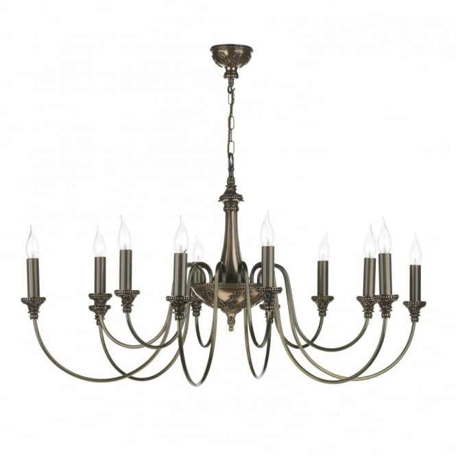 The David Hunt Lighting Collection BAILEY 12 light traditional bronze chandelier with long drop