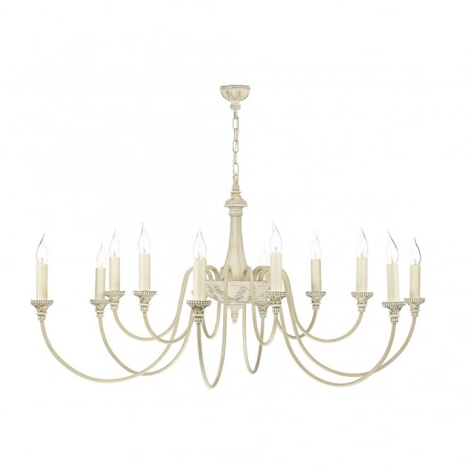 The David Hunt Lighting Collection BAILEY antique cream traditional chandelier 12lt
