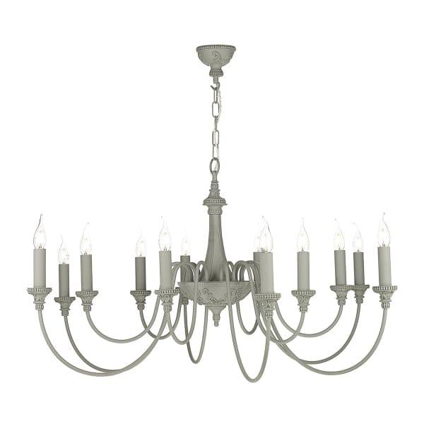Chandelier Lighting Sale Uk: Rustic 12 Light Chandelier In An Ash Grey Finish