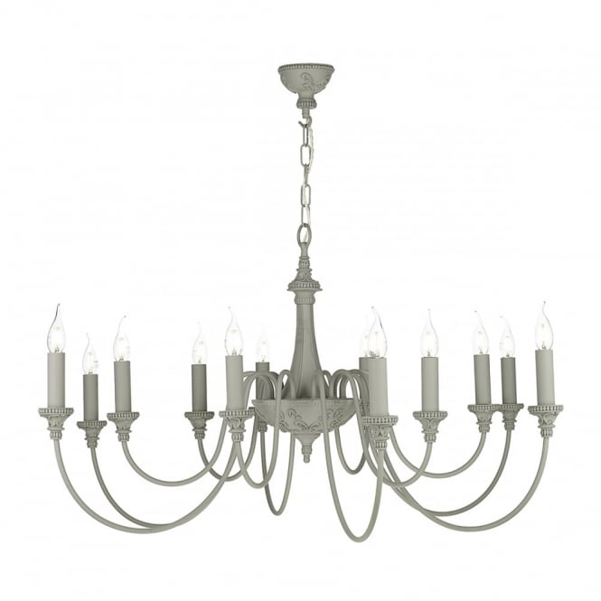 The David Hunt Lighting Collection BAILEY rustic 12 light chandelier in an ash grey finish