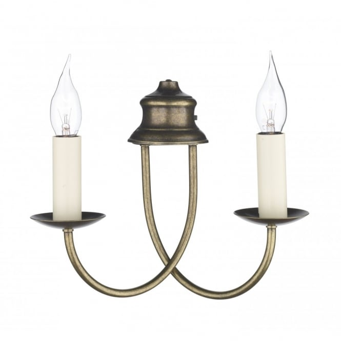 The David Hunt Lighting Collection BERMUDA aged brass double wall light