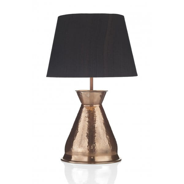 Rustic Copper Table Lamp With Silk Shade Ideal For