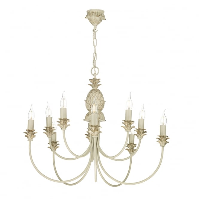 CABANA traditional 10 light pendant in cream and gold finish