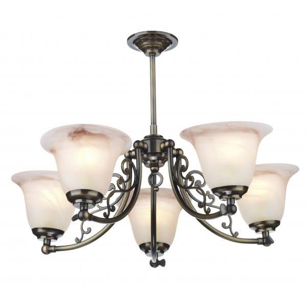 5 Light Campden Antique Brass Low Ceiling Pendant