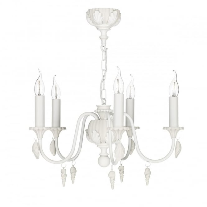 The David Hunt Lighting Collection CAVENDISH 5 light pendant in almond white and tealight cream