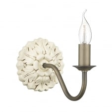 rustic French style wall light in distressed cream finish with decorative back plate