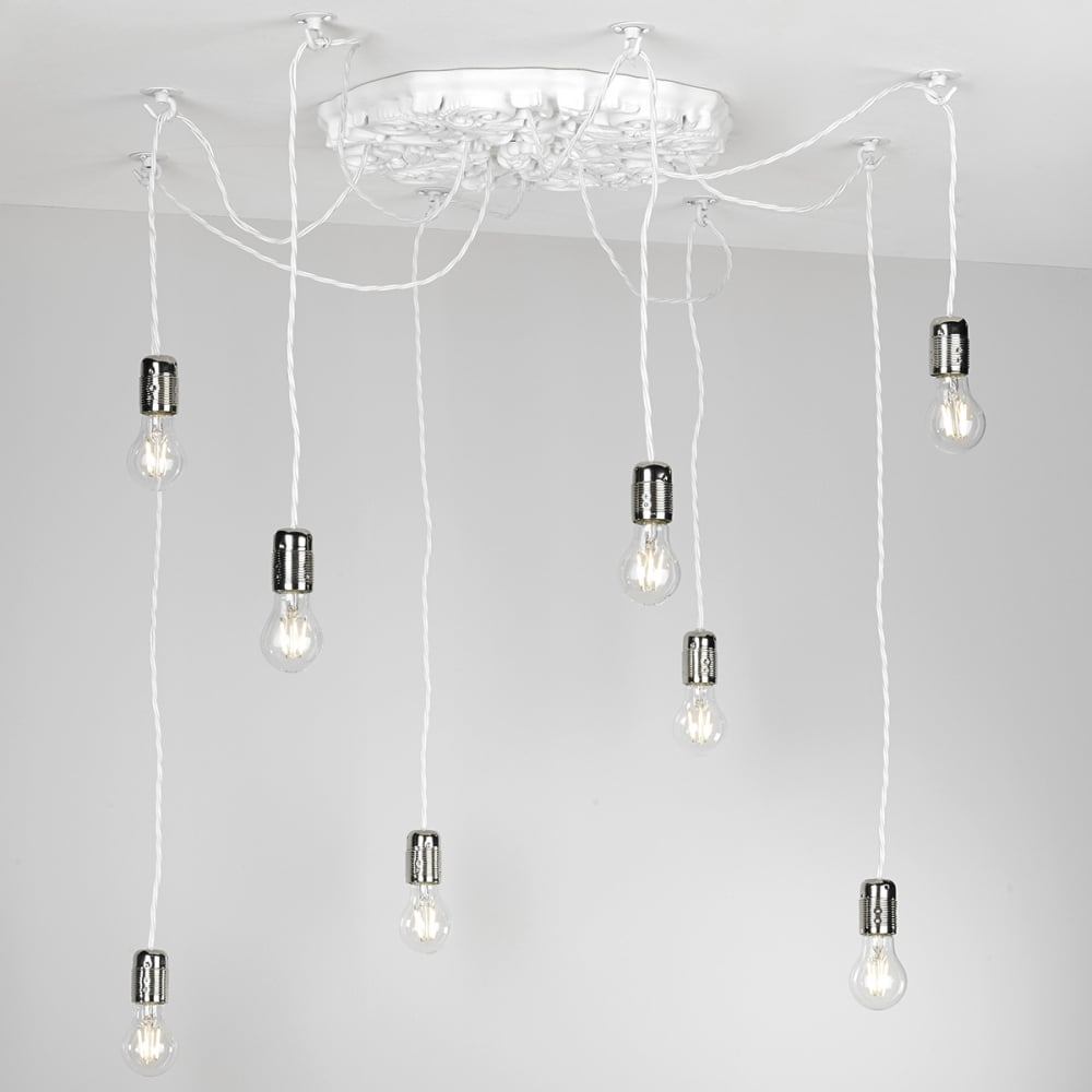 decorative 8 light arctic white multi pendant - british made