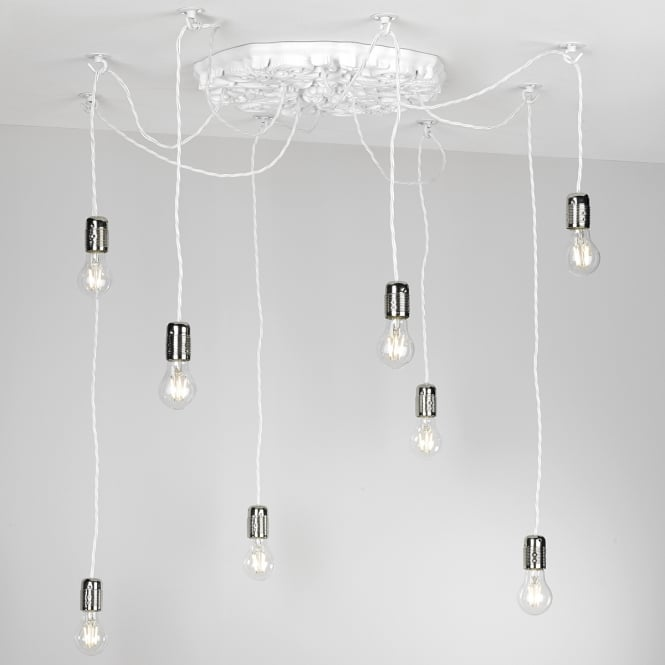 The David Hunt Lighting Collection CHATSWORTH decorative 8 light arctic white pendant cluster