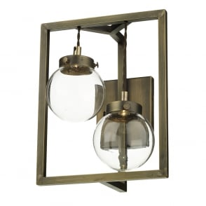 Dark metal wall sconce wall light in updated medieval styling antique brass led double wall light with glass globe shades mozeypictures Images