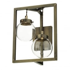 antique brass LED double wall light with glass globe shades