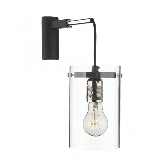 The David Hunt Lighting Collection CINCINNATI black, acrylic & chrome modern wall light