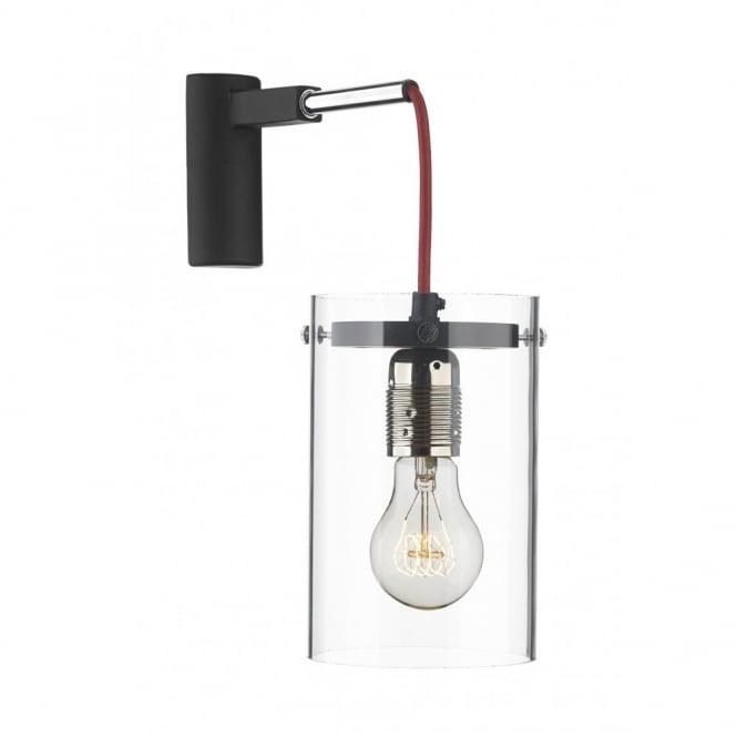 The David Hunt Lighting Collection CINCINNATI black, acrylic & chrome modern wall light (red cable)