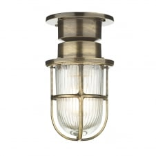 industrial coastal style light in antique brass