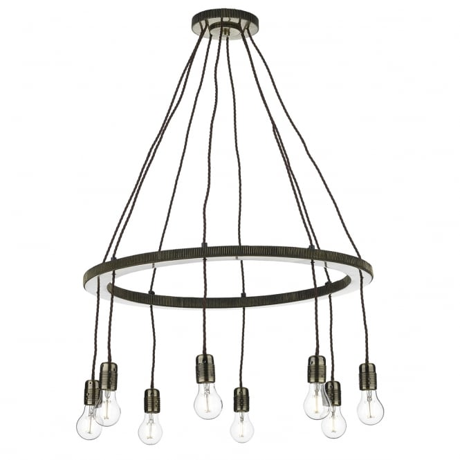 The David Hunt Lighting Collection COG 8 light brass ceiling pendant with twisted flex