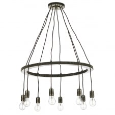 COG 8 light brass ceiling pendant with twisted flex