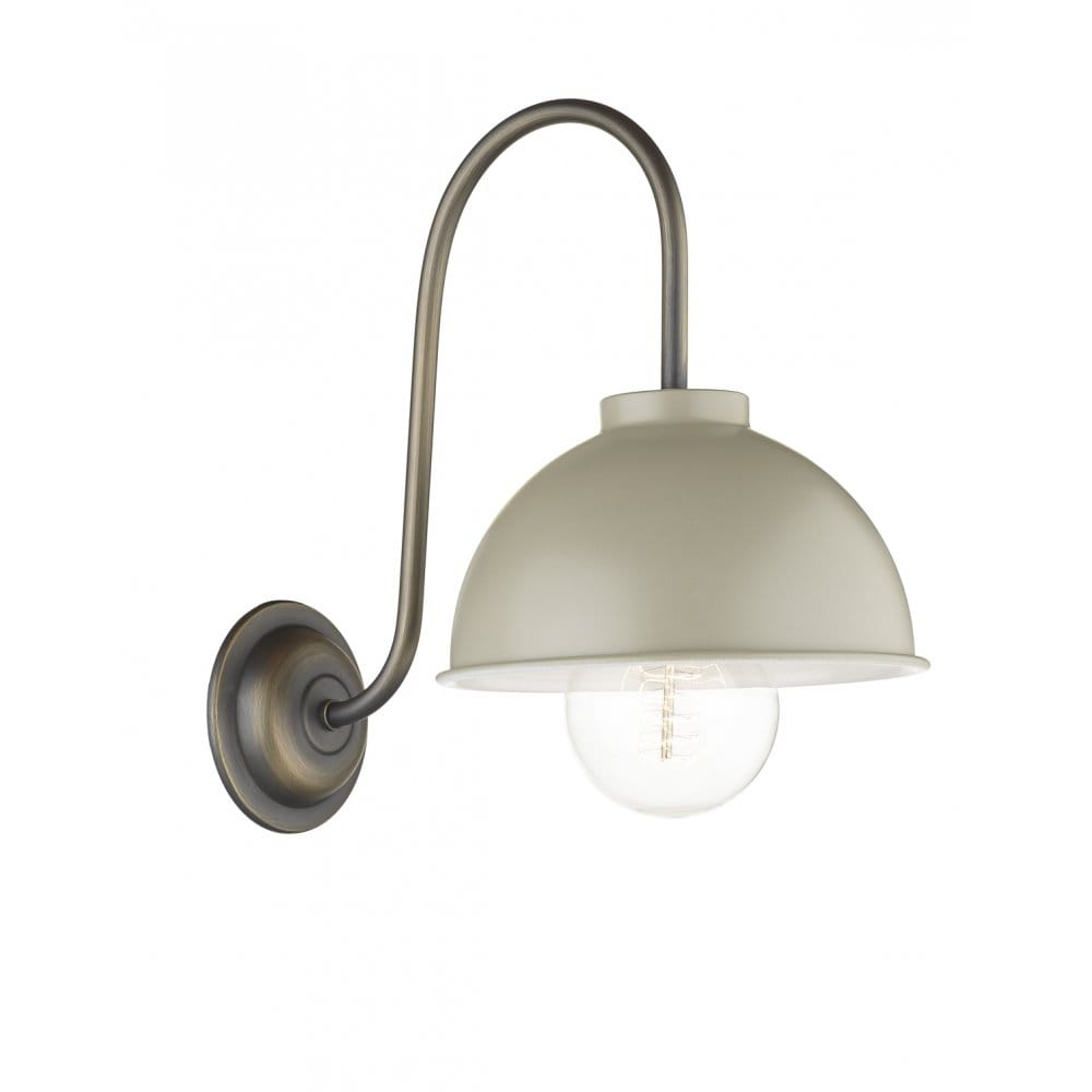 Traditional Metal Wall Lights : Vintage Single Wall Light in Dark Antique, Cream Painted Metal Shade