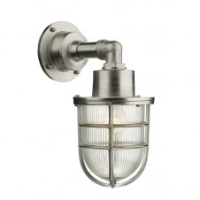 nautical industrial style outdoor wall light in nickel