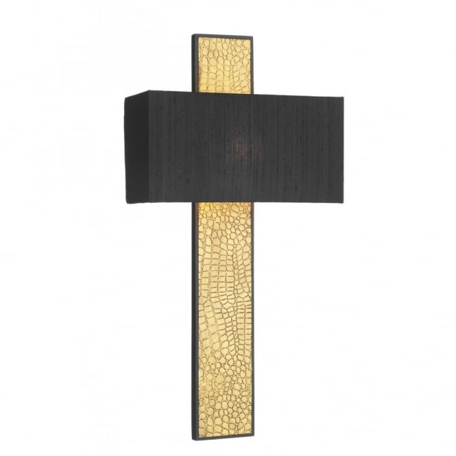 The David Hunt Lighting Collection CROC gold wall light, black silk shade