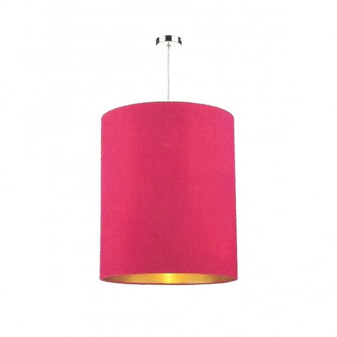 The David Hunt Lighting Collection CYLINDER large pink cylindrical silk light shade lined in gold