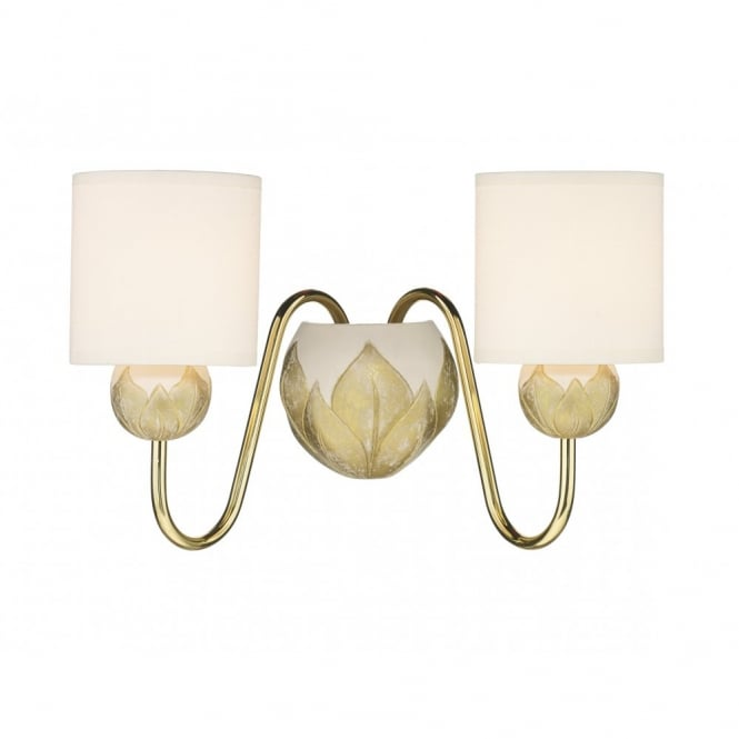 The David Hunt Lighting Collection DAHLIA ivory gold double wall light