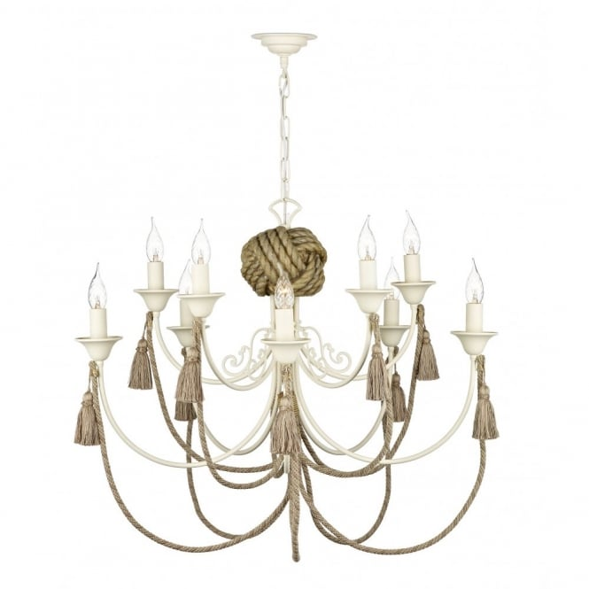 The David Hunt Lighting Collection DARWIN rustic rope detail ceiling pendant chandelier