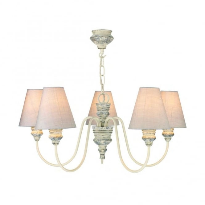 The David Hunt Lighting Collection DOREEN distressed cream 5lt pendant with shades