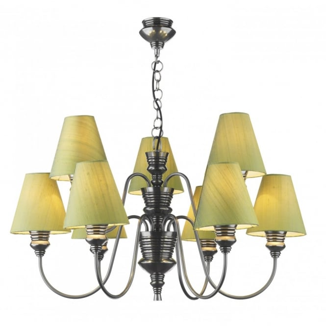 The David Hunt Lighting Collection DOREEN pewter 9 light ceiling pendant